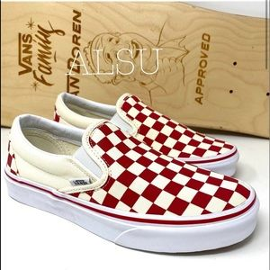 VANS Classic Slip On Primary Check Red Canvas WMNS